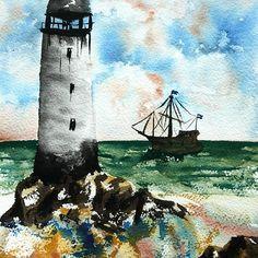 #lighthouse #ship #beach #rocky #cloudy #cloudysky #sea #greensea #watercolor #watercolours #watercolour #watercolorpainting #instart #instaart Watercolours, Watercolor Paintings, Insta Art, Lighthouse, Ship, Beach, Bell Rock Lighthouse, Light House, Water Colors