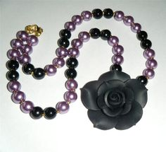 "Black rose & bead necklace, black flower black & lilac pearl glass beads 18.1/2"" long (47cm)"