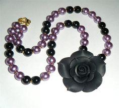"Black rose & bead necklace, black flower black & lilac pearl glass beads 18.1/2"" long (47cm)"