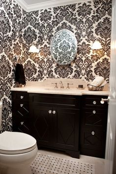 , Captivating Traditional Powder Room With Black And White Wallpaper Designs With Gorgeous Floral Pattern Also Dark Brown Vanity Color With Beige Marble Countertop Also White Toilet And Toilet Tray: Black and White Wallpaper Designs for Your House Damask Bathroom, Black Vanity Bathroom, Bathroom Interior, White Bathroom, Home Design, Design Ideas, Design Design, Interior Design, Bedroom With Bath