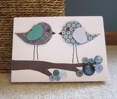 Children's Room Canvas Art, Nursery decor, 5 x 7, birds on branch, cute as a button, blue and brown
