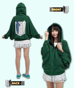 Romantic Attack On Titan Shingeki No Kyojin Hoodie Black Green Jacket Costume Uk Seller Women's Clothing Collectibles