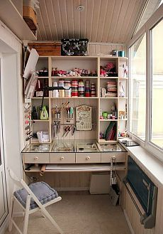 Examples of small balcony decoration - New Deko Sites Balcony Design, Balcony Ideas, Sewing Rooms, Space Crafts, Craft Space, Design Case, Room Organization, Interior Decorating, Interior Design