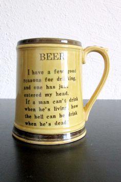 Beer Drinking Poem Ceramic Mug Enesco Japan AtomicPutz.com on Etsy