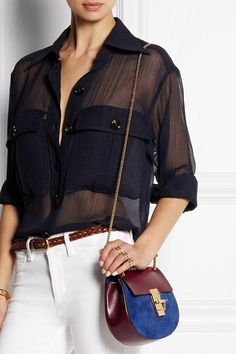 Chloé | Drew mini leather and suede shoulder bag | NET-A-PORTER.COM #accessories #women #covetme