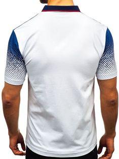 Gradient Tone Shirt Collar T Shirts Polo Shirt Brands, Polo Shirt White, Printed Cotton, Collar Shirts, Denim Fashion, Printed Shorts, Types Of Sleeves, Casual, Mens Tops