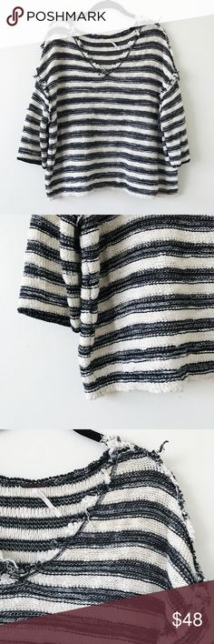 Free People White Striped Sweater • brand: free people  • condition: NWOT  • size: Small  • description: striped sweater with distressed hem, oversized fit.   • bundle to save 💵! no trades/holds/try-ons. will try to answer all questions asap. no price negotiations in comments, they will be ignored. i ship within 24-48 hours.   ✨happy shopping!✨ Free People Sweaters V-Necks