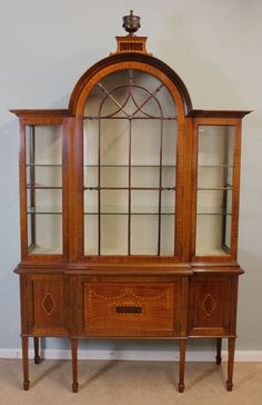 09727r1 Antique Inlaid Edwardian 20th Century Display Cabinet Domed Top Cupboards under Cambridge London