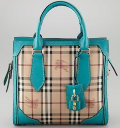 Burberry turquoise check tote bag..M.Taylor: My mother wore so much turquoise when I was a kid I got sick of it and hated it for years. Just when I started liking it again the worlds designers went overboard on it. This IS a very cute and classy bag!