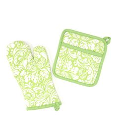 Cucumber Melon Damask Oven Mitt & Pot Holder