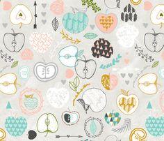 Apple Love (spring) fabric by nouveau_bohemian on Spoonflower - custom fabric