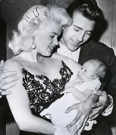 Jayne Mansfield and Mickey Hargitay with their baby son Miklos, 1958.