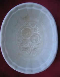 Antique White Ironstone Mold Roses Pattern