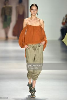 A model walks at Lilly Sarti runway during SPFW Summer 2016 at Parque Candido Portinari on April 14, 2015 in Sao Paulo, Brazil.