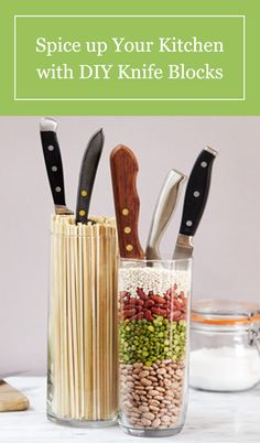 View a set of DIY knife block ideas that will spice up your kitchen. For more easy DIY projects, visit P&G Everyday today. Diy Kitchen, Kitchen Dining, Kitchen Decor, Knife Storage, Diy Storage, Kitchen Knives, Kitchen Gadgets, Kitchen Organization, Kitchen Storage