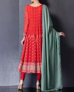 Red Anarkali Suit with Printed Motifs