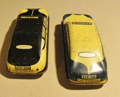 "TWO 1950s TINPLATE TOY CARS ""POLICE & TAXI"" in nice condition 