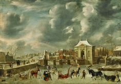 Jan Abrahamszoon Beerstraten (1622-1666)- 'canal with Heiligeweg gate in the winter'- 1653, Amsterdam