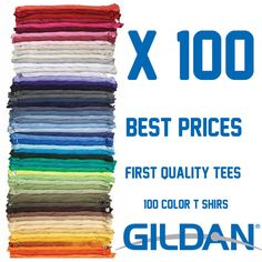 100 T-shirts Gildan Bundle Blank Colors Plain Men's Tee S-XL for Screen Printing #Gildan