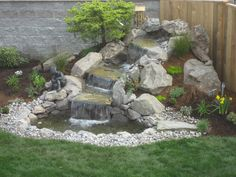 Small Waterfall Sloped Backyard Landscaping Ideas On Waterfall Landscaping Design Sloped Backyard, Backyard Water Feature, Ponds Backyard, Backyard Ideas, Backyard Waterfalls, Desert Backyard, Terraced Backyard, Garden Ponds, Water Falls Garden