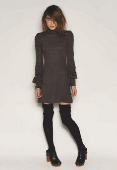 """Scarlett Wool Knit Dress in Grey Moss by One Teaspoon    Wool blend dress. Super fitted with wide sleeves and button detailing around the collar and sleeves. Measures approximately 32"""" from shoulder to hem. 80% Polyacrylic, 20% Polyester"""