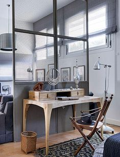 Fabulous Design Desk Office Decoration With Glass Window Curtain And Corner Oak Wooden Along With Modern Silver Standing Flooring Design Ideas