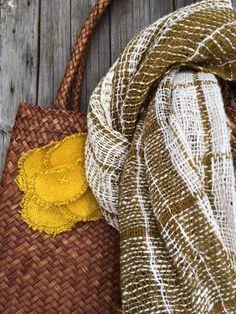 Organic  handwoven scarf/ shawl: spring green leaf  #1