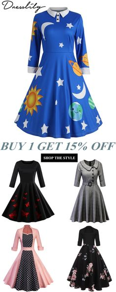 569f402c424 Free shipping over 39.Sun and Moon Print Flare Vintage Dress.  dresslily