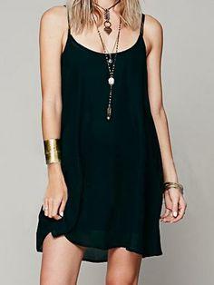 Black Low Cut Round Neck Backless Strap Chiffon Dress