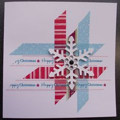 Fun and easy card for washi tape or paper scraps! Cut the strips on an angle and create a pattern on your card. Add a dimensional snow flake and some rhinestone bling and you have a great handmade Christmas card! Christmas Card Crafts, Xmas Cards, Handmade Christmas, Holiday Cards, Washi Tape Cards, Snowflake Cards, Theme Noel, Winter Cards, Creative Cards