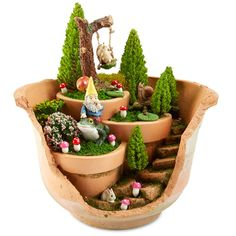 Woodland Cracked Pot Fairy Garden