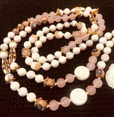 Shell Rosewood Shiva Eye Rose Quartz Howlite Guru Bead Hand