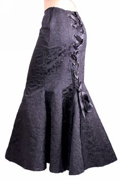 Totally stunning luxury black brocade skirt Long fishtail style with side zip fastening and ribboned corset back Full