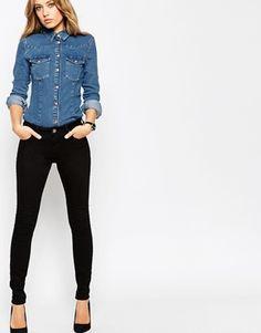 ASOS Lisbon Skinny Mid Rise Jeans in Clean Black