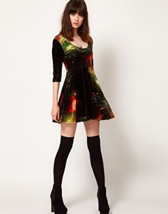 Enlarge Evil Twin 'Outer Limits' Velvet Skater Dress