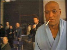 """Lawrence Fishburn smoking at the set of """"Matrix""""."""