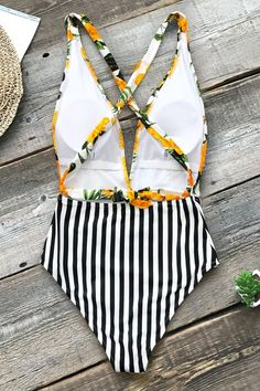 Yellow Floral and Black Stripe One-Piece Swimsuit Buy Now Cute Swimsuits, Flattering Swimsuits, Black Stripes, Yellow Black, Girls Bathing Suits, Striped One Piece, One Piece Bikini, High Waisted Bikini Bottoms, Beach Dresses