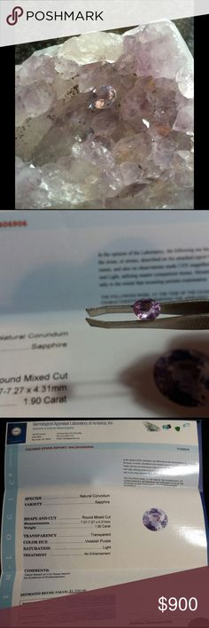 Gorgous Sapphire! Purple Sapphire loose stone. 1.90 carat, mixed round cut. This stone would be Absolutely Gorgeous in a white gold setting. Jewelry