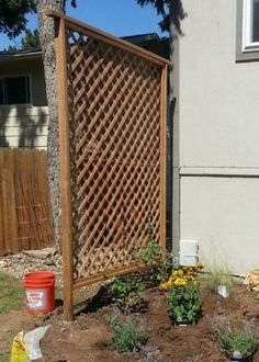 Check out how to build a DIY trellis for more privacy in your backyard @istandarddesign