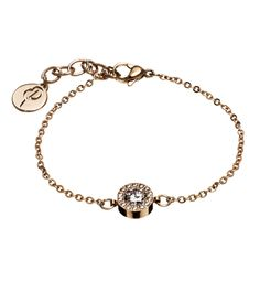 Gorgeous bracelet in polished rose Gold plate has a large stone encased by 14 smaller ones. A beautiful and simple bracelet, easily worn and suits all.