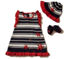 Knitted girl nautica set blue and red stripes. Dress by Renattoni, $65.00