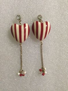 Betsey Johnson Rockerbilly Striped Red And White Puffy Dangling Earrings Rare #BetseyJohnson #DropDangle