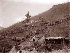 Italian front, WW1. Camps on the slopes of the Pasubio. Accampamenti sulle pendici del Pasubio.