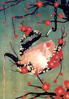 Tea pot plus cherry blossoms