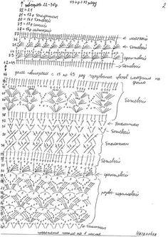 """платье Клариса Рукавчик - это """"ракушечка"""", связанная по схеме подола  платье Эрика Вязание начинается с талии, с узора №3 вверх (6 рядов) потом №2 (4 раппорта) и №1."""