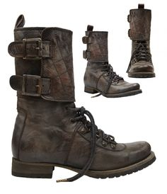 Post Apo boots (all saints) These are COOL! *add some leather or canvas w/ straps to cover plain boots. Mode Shoes, Men's Shoes, Shoe Boots, Post Apocalyptic Fashion, Apocalyptic Clothing, Fashion Shoes, Mens Fashion, Dandy, Me Too Shoes