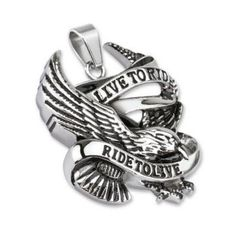 Ride to Live- Classic biker live to ride to live black and silver carved stainless steel eagle pendant Sons Of Anarchy, Cordon En Cuir, Titanium Jewelry, Biker Rings, Skull Pendant, Matching Rings, Pendant Design, Steel Jewelry, 316l Stainless Steel