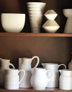 """A white pottery collection: """"It's the David Hicks philosophy,"""" Larkins says. """"When you take things with common traits and put them together,..."""
