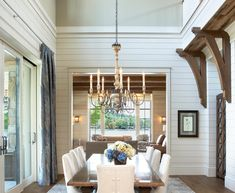 ... Dazzling Shiplap method Other Metro Traditional Dining Room Decoration ideas with chandeliers corbel knee…
