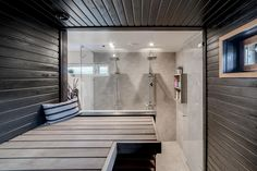 Inside A House, Sauna Room, Basement Gym, Small Toilet, Spa Rooms, Saunas, Cottage Interiors, Home Spa, Laundry In Bathroom